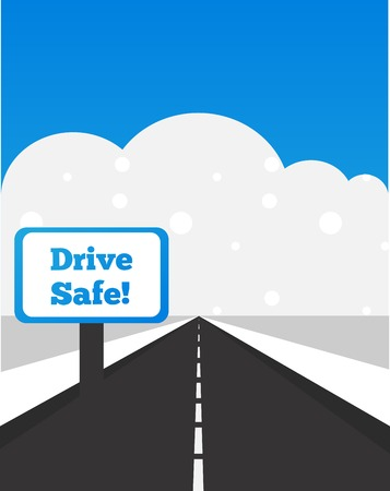 winter car: drive safe sign, be careful while driving at winter time