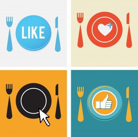 nice food: набор из четырех иконок для пищевых и ресторанов сетях