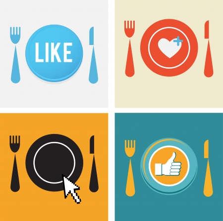 approvals: set of four icons for food and restaurant webs  Illustration