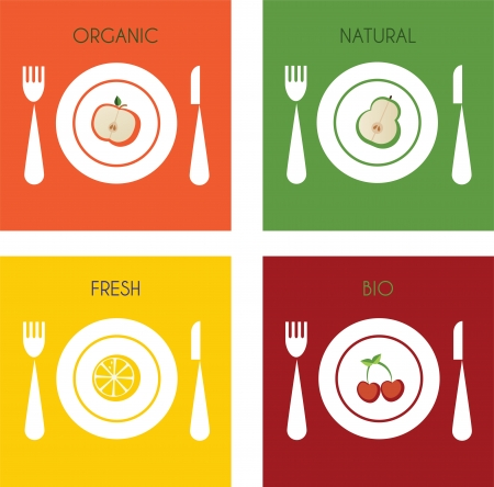collection of fresh and organic fruits on plates  Vector