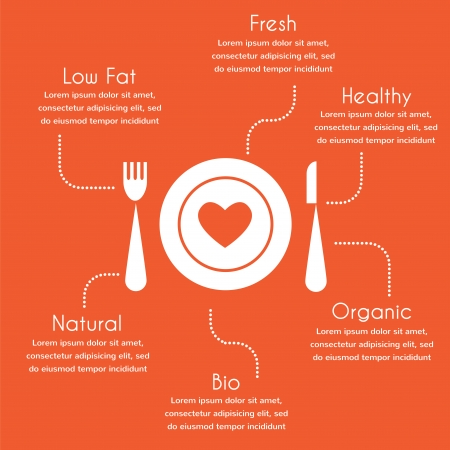 infographics of organic and healthy food  Vector
