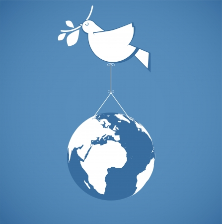 white dove holding globe on a wire  Illustration