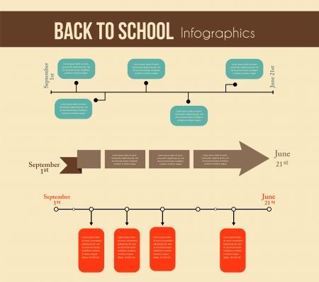 インフォ グラフィック教育年のタイムラインは学校に戻る  イラスト・ベクター素材