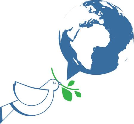 吹き出しとして世界とオリーブの枝を保持している白い鳩  イラスト・ベクター素材