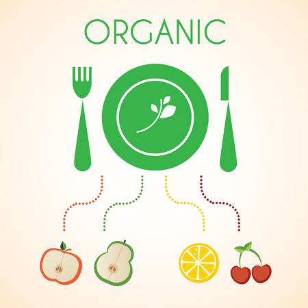 healty eating: organic fruits, green plate with fork and knife  Illustration