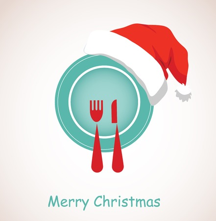 christmas dinner  plate wearing christmas red hat  Illustration