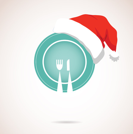 christmas dinner  plate wearing christmas red hat  Vector