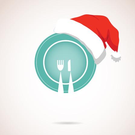 christmas dinner  plate wearing christmas red hat  Illustration