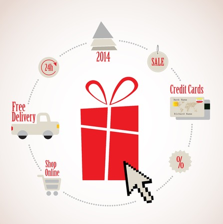 gift basket: present With E-Commerce Icon Around For Internet and Online Shopping Illustration