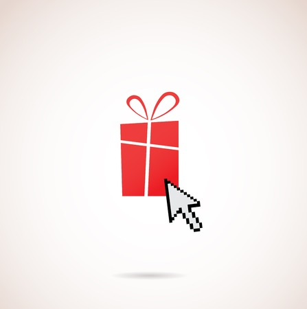 Present with computer arrow; christmas and holiday shopping