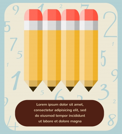 numbering: back to school, illustration of pencil set on numbering pattern