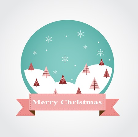 Christmas greeting card design with bauble ornament  Vector illustration