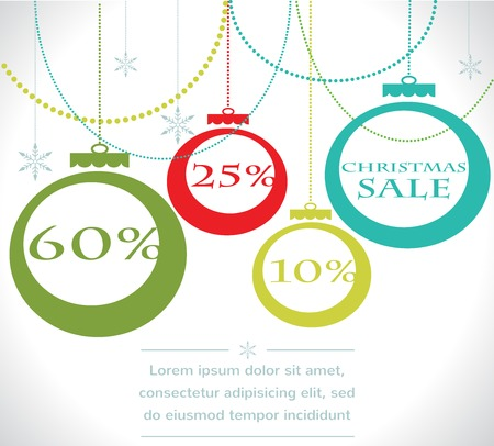 Weihnachten Verkauf Bälle mit Schneeflocke Vektor-Illustration