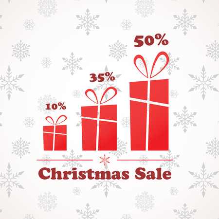 three present boxes in different sizes; christmas sale  Vector