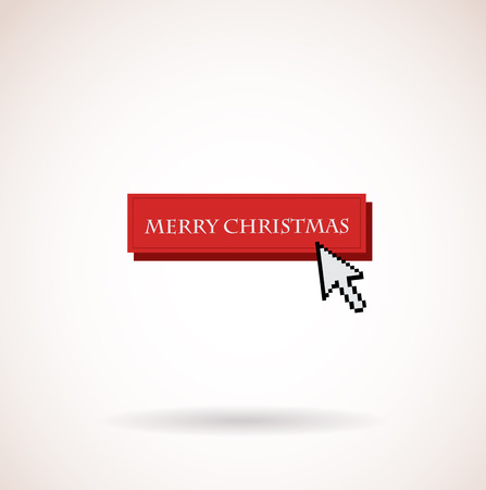 red merry christmas button with computer arrow Vector