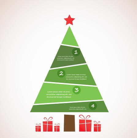 クリスマス_ツリー装飾やプレゼントをインフォ グラフィック  イラスト・ベクター素材
