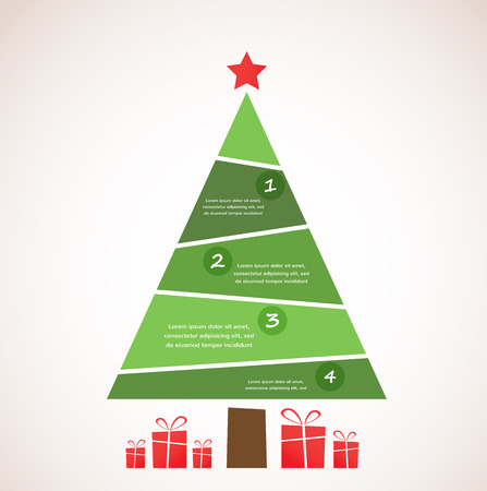Christmas infographic tree with decoration and presents