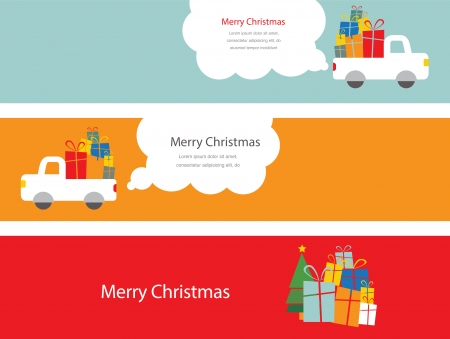 set of 3 christmas cards with santa driving a trank with presents  Vector