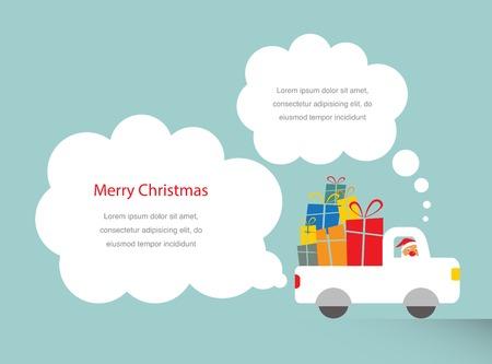 santa driving a trank full of presents  Vector
