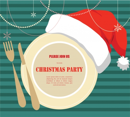 christmas dinner party: christmas party invitation, plate with christmas hat Illustration