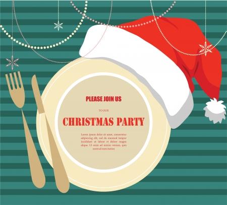 cena de navidad: fiesta de navidad invitaci�n, placa con sombrero de navidad