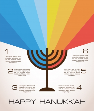 dreidel: hanukkah infographics, hanukkah menorah with rainbow lights Illustration