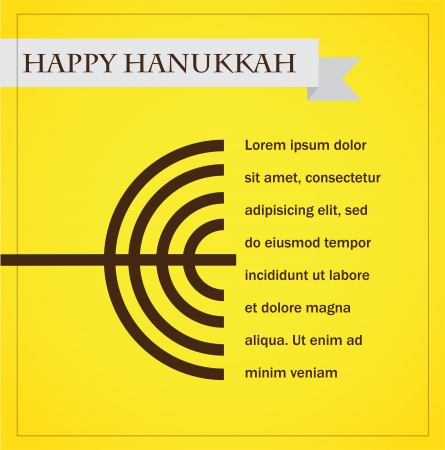 hanukka menorah on yellow  happy hanukkah  infographics