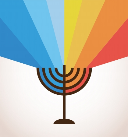 hanukkah menorah with rainbow lights, happy holidays