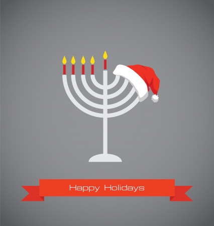 happy holidays, merry christmas and happy hanukkah Vector