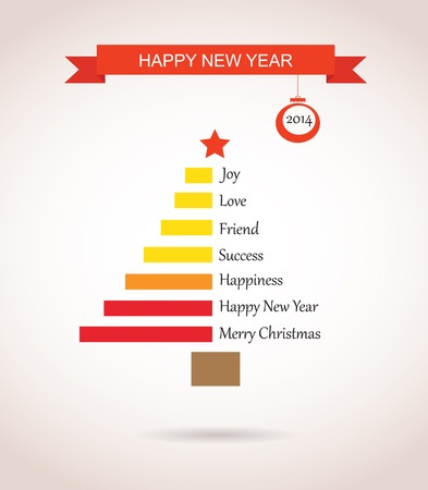 christmas tree made like bar chart with greetings Vector
