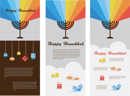 hanuka: set of three cards with hanukkah infographics Illustration