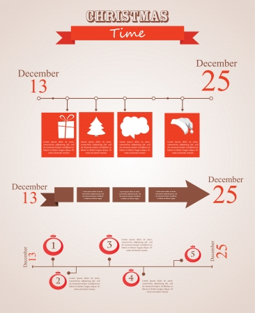 three christmas time timeline templates. happy new year