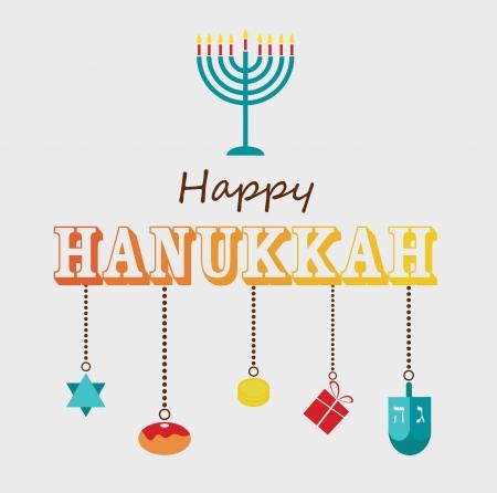Happy Hanukkah greeting card design with hanukah objects 向量圖像
