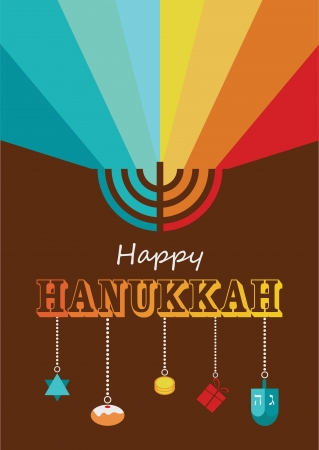hanukkah infographics, hanukkah menorah with rainbow lights Vector