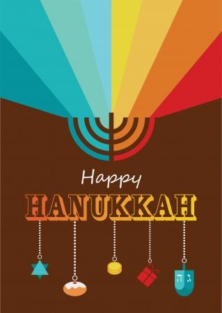 hanukkah infographics, hanukkah menorah with rainbow lights Illustration