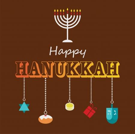Happy Hanukkah greeting card design with hanukah objects Vector