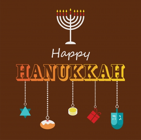 sumbol: Happy Hanukkah greeting card design with hanukah objects Illustration