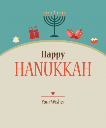 gelt: Happy Hanukkah greeting card design with Hanukkah objects Illustration