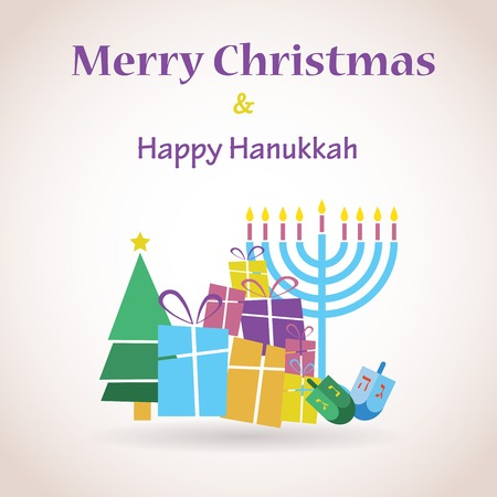 happy Hanukkah and happy holidays, jewish holiday menorah Vector