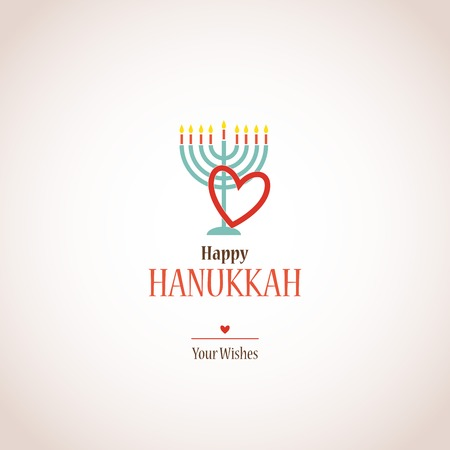 i love hanukkah, hanukkah menora with heart Vector