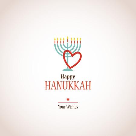 hanuka: i love hanukkah, hanukkah menora with heart