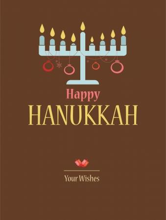 happy hanukkah; jewish holiday card with hanukkah menora Illustration