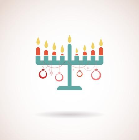 menora: happy hanukkah; jewish holiday card with hanukkah menora Illustration