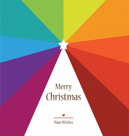 christmas tree on rainbow colors background, colorful illustration Vector