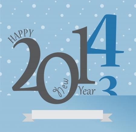 ribon: 2014 New Year Greetings Card. Happy Holidays