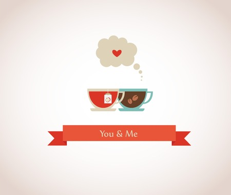 you are my cup of tea, valentines card Vector