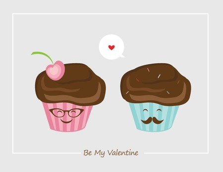 hipster retro male and female muffins , happy Valentines Vector