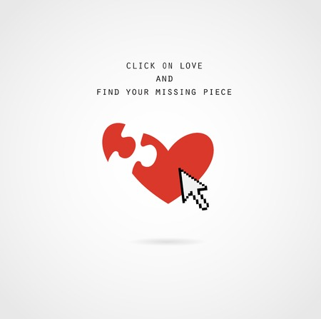 click and find love, your missing piece of valentine card Vector