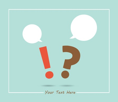 sharpening: question mark and exclamation mark with speech bubbles, in retro colors Illustration