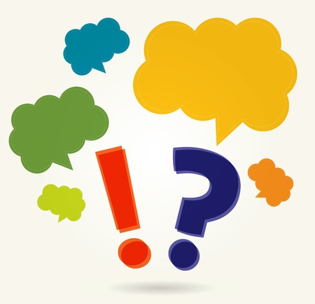 sharpening: question mark with speech bubbles, in retro colors